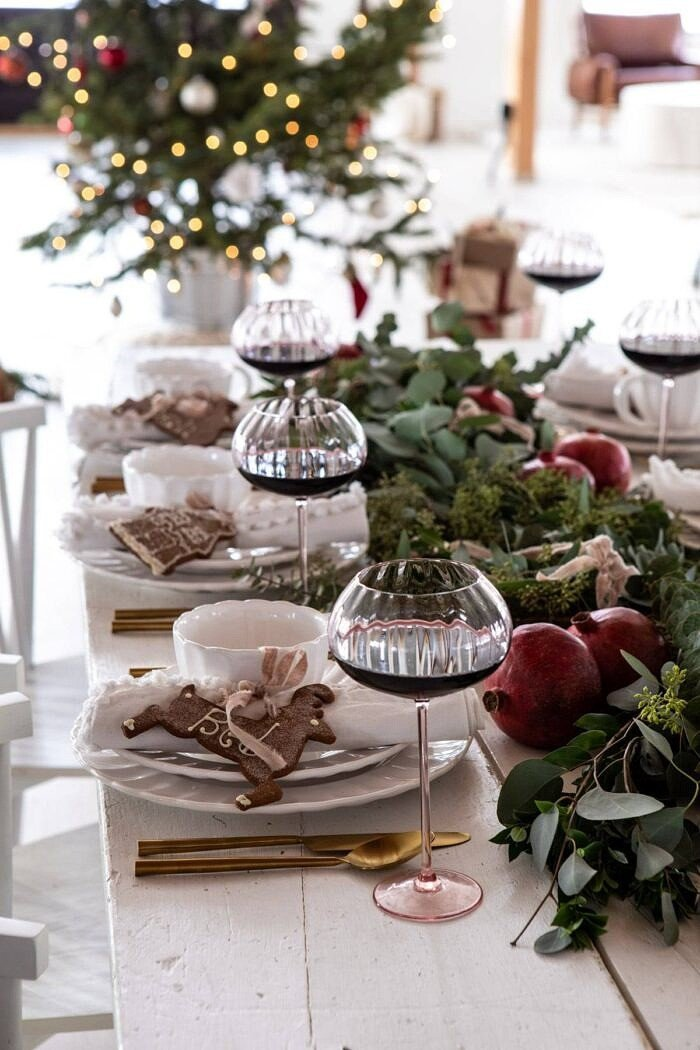 An Easy Christmas Tablescape with tree in background