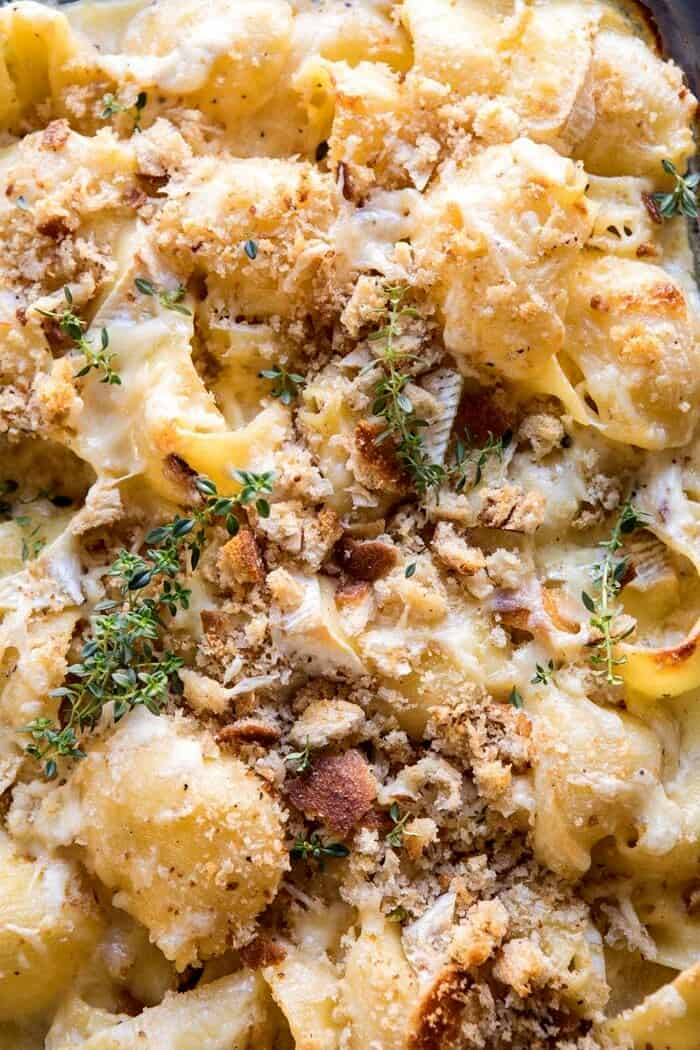 close up photo of Baked Brie Mac and Cheese