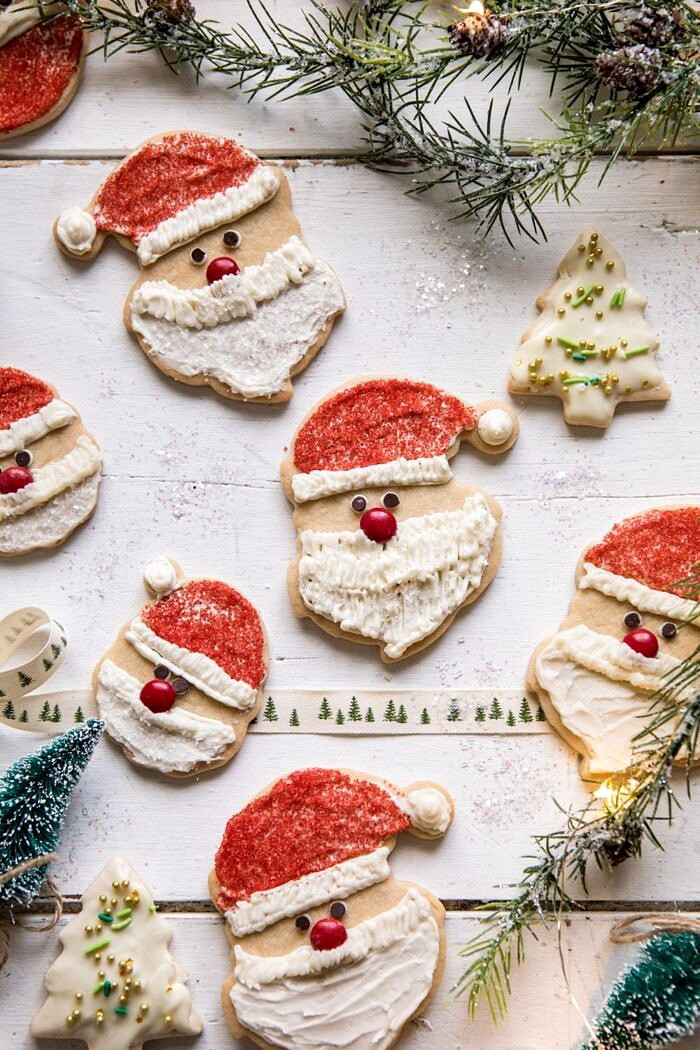 overhead photo of Chai Spiced Santa Cookies with White Chocolate Frosting