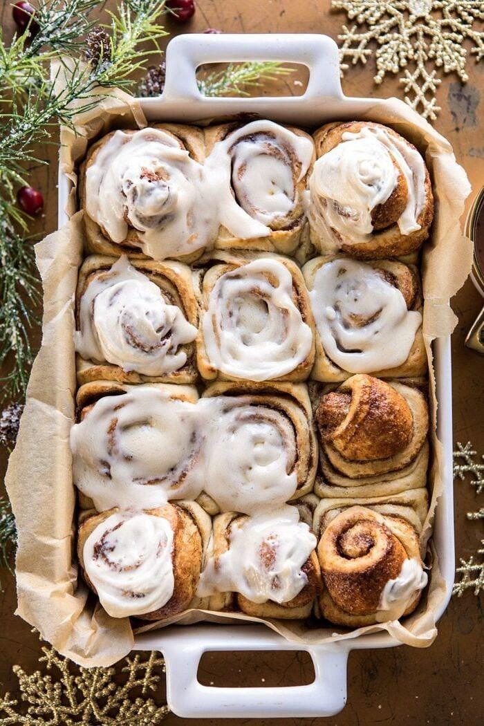 Christmas Cinnamon Rolls.Overnight Eggnog Brioche Cinnamon Rolls