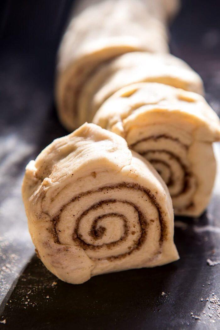 Easiest Overnight Eggnog Brioche Cinnamon Roll dough log
