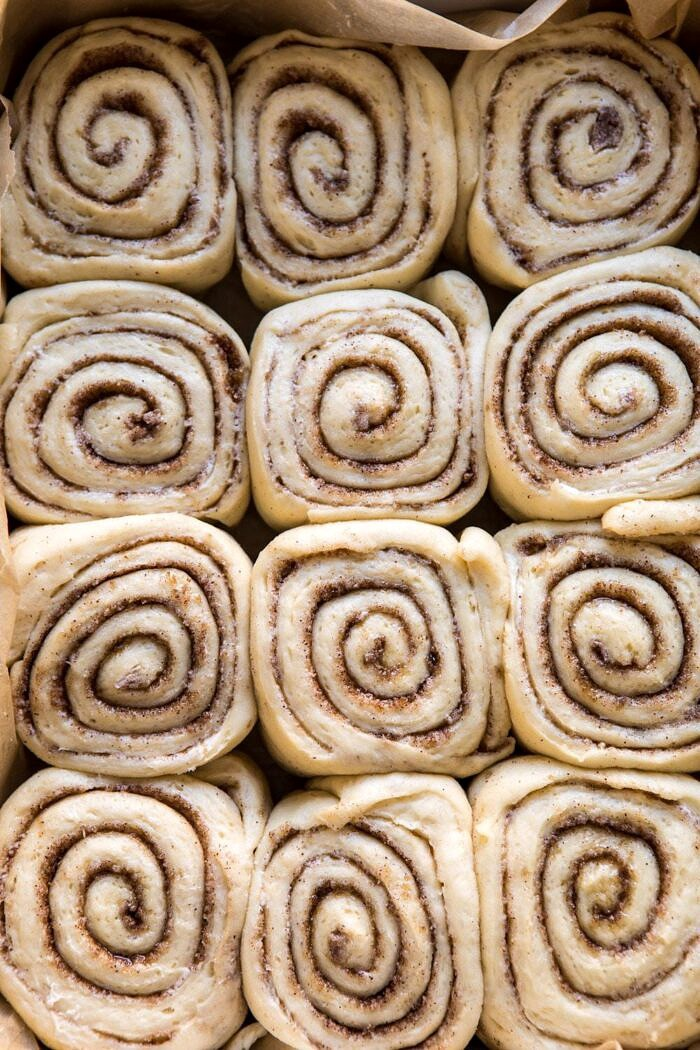 Easiest Overnight Eggnog Brioche Cinnamon Rolls before baking