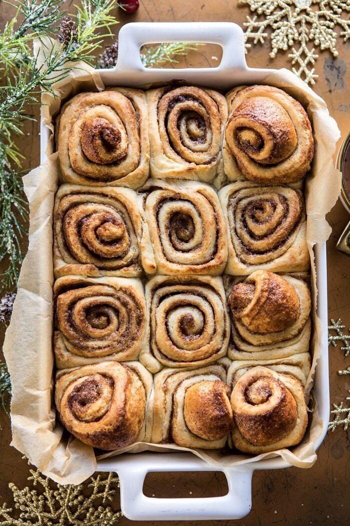 Easiest Overnight Eggnog Brioche Cinnamon Rolls after baking