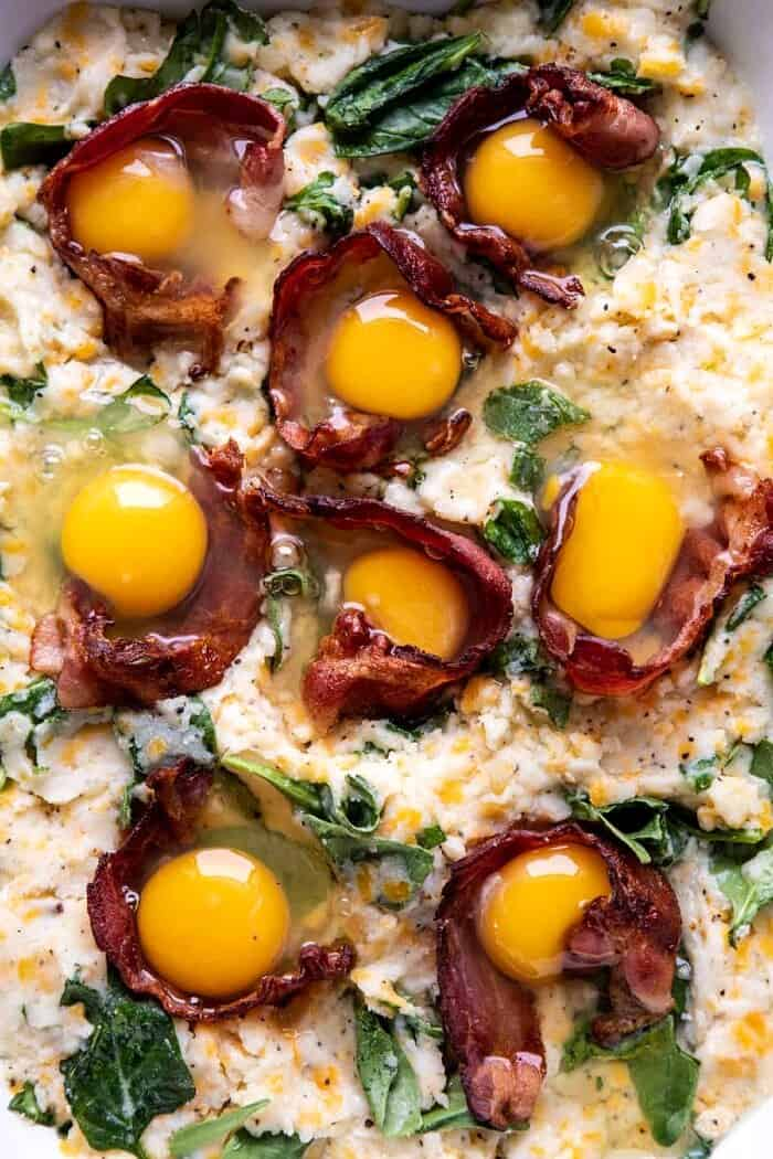 Everything Cheesy Potato and Egg Breakfast Casserole with eggs before baking