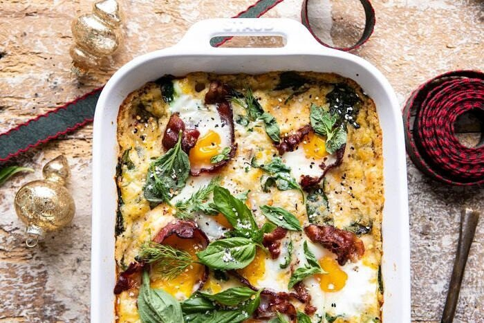 horizontal photo of Everything Cheesy Potato and Egg Breakfast Casserole