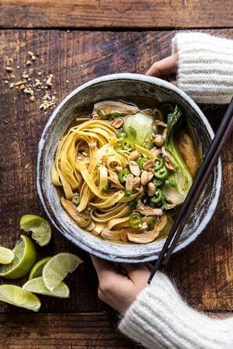 Ginger Peanut Chicken Noodle Soup | halfbakedharvest.com #soup #healthyrecipe #chickensoup #easyrecipes