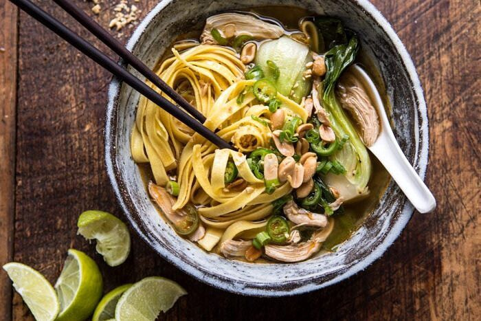 horizontal photo of Ginger Peanut Chicken Noodle Soup