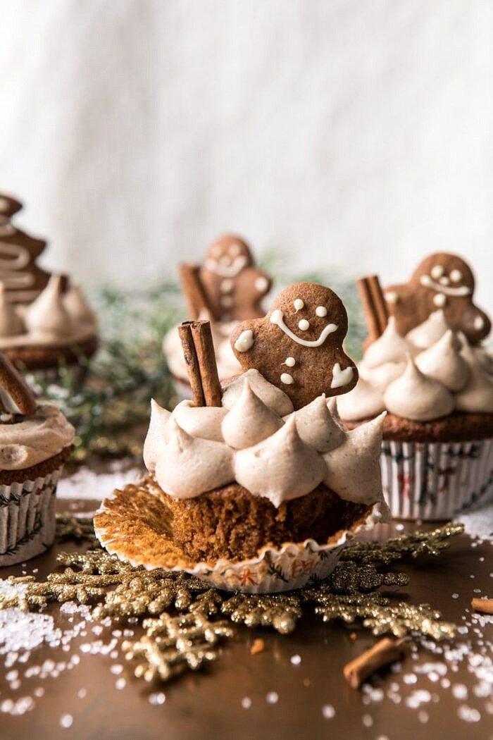 Gingerbread Cupcakes with Cinnamon Browned Butter Buttercream.
