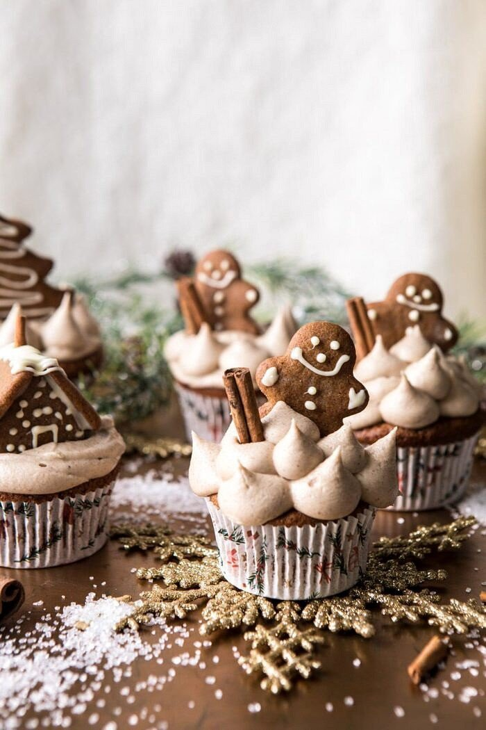 side angle photo of Gingerbread Cupcakes with Cinnamon Browned Butter Buttercream