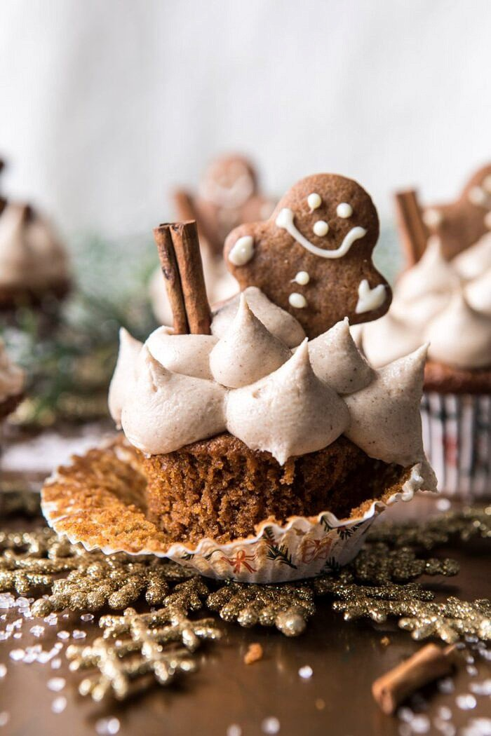 close up photo of Gingerbread Cupcakes with Cinnamon Browned Butter Buttercream