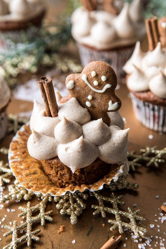 overhead photo of Gingerbread Cupcakes with Cinnamon Browned Butter Buttercream