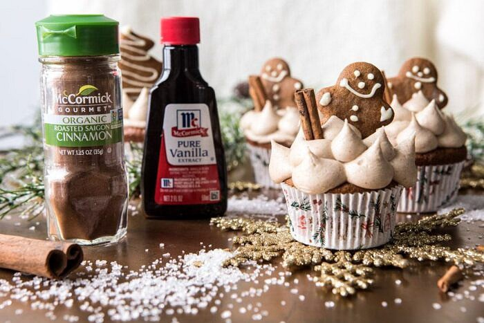 horizontal photo of Gingerbread Cupcakes with Cinnamon Browned Butter Buttercream