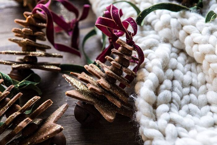 horizontal photo of Glittered Gingerbread Christmas Tree Ornaments