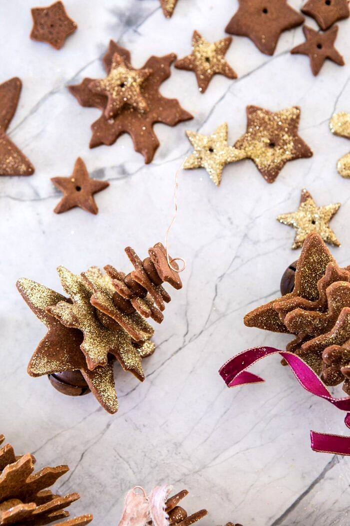assembling Glittered Gingerbread Christmas Tree Ornaments