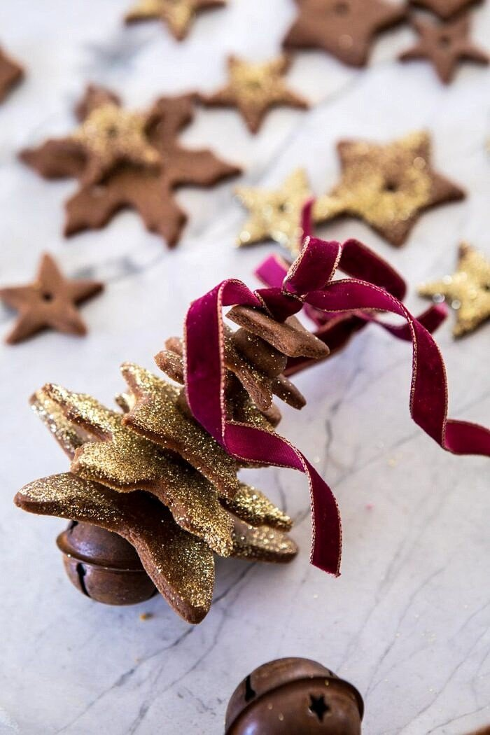 close up Glittered Gingerbread Christmas Tree Ornaments