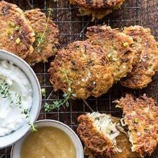 Herbed Cheddar Latkes | halfbakedharvest.com #potatoes #latkes #cheese #holiday #christmas #Hanukkah