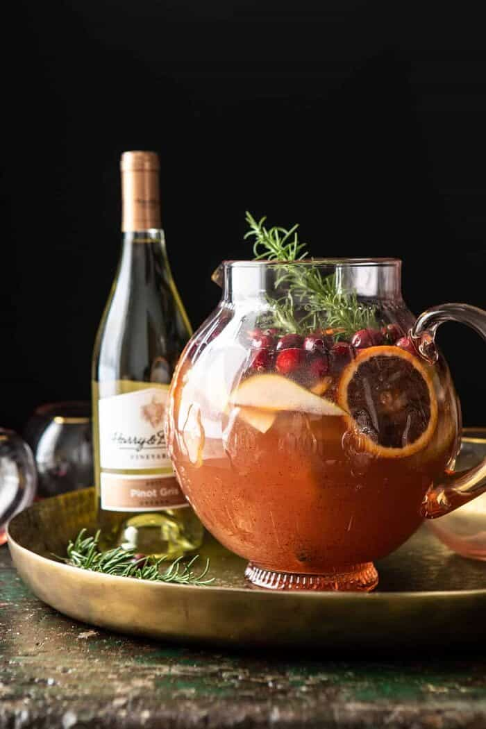 Holiday Pear Sangria in pitcher