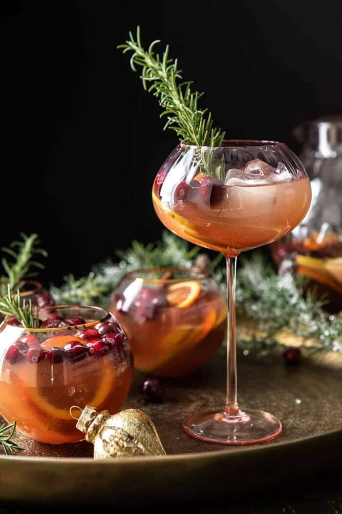 Holiday Pear Sangria in tall wine glass