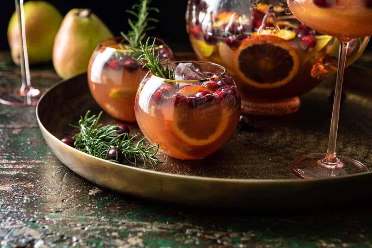 Holiday Pear Sangria | halfbakedharvest.com #sangria #cocktail #drinks #christmas