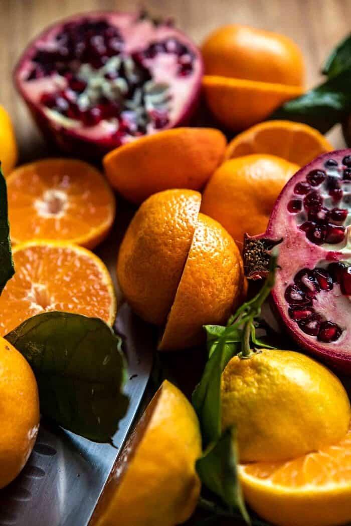 raw citrus and pomegranates