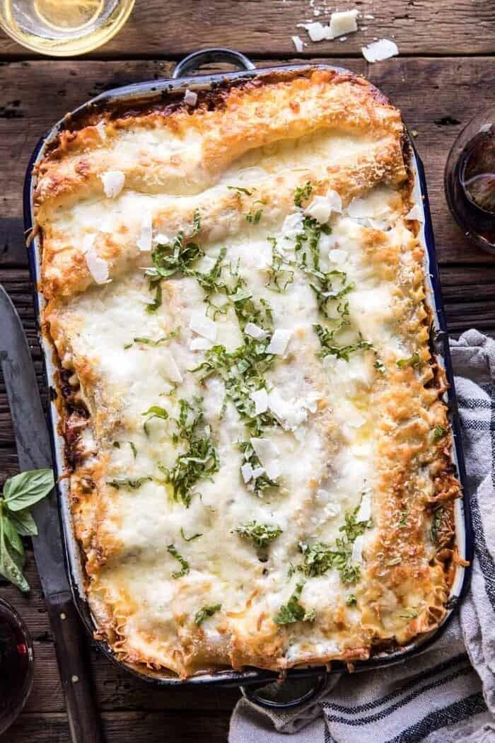 overhead photo of Pesto Bolognese Lasagna