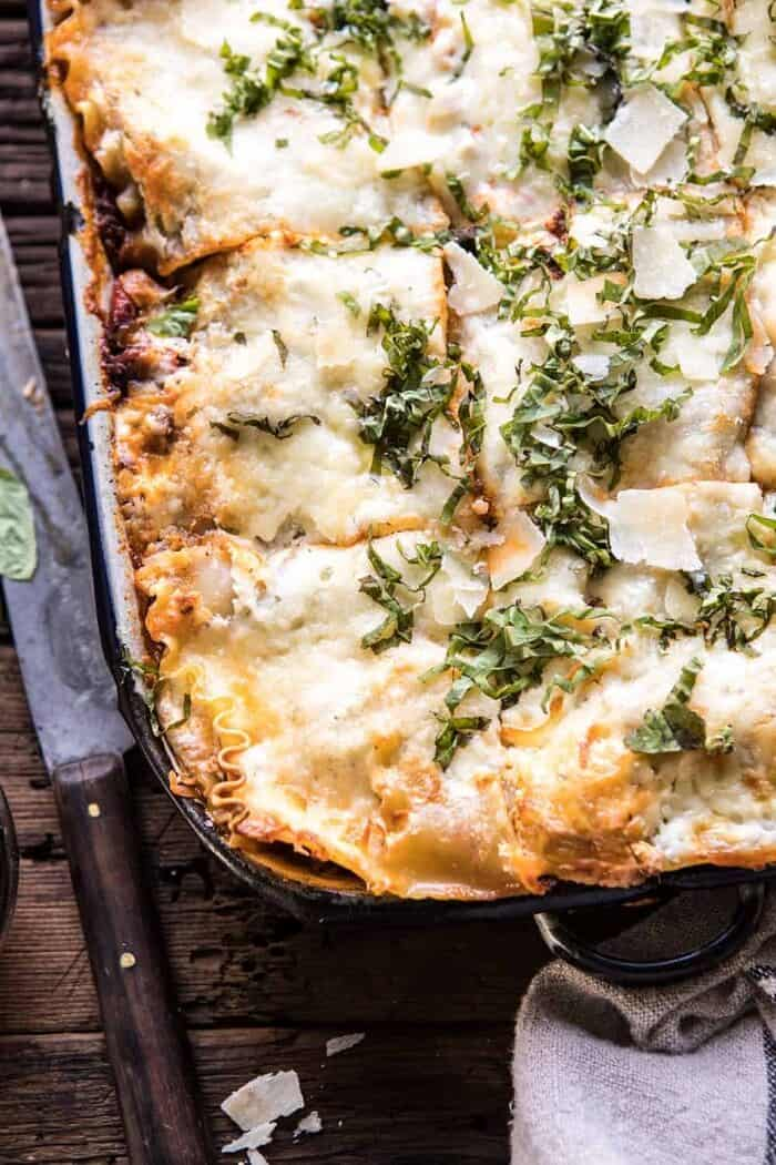 overhead close up photo of Pesto Bolognese Lasagna