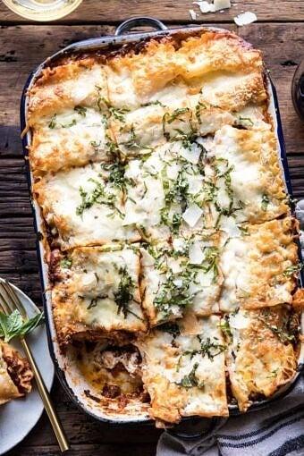 Pesto Bolognese Lasagna | halfbakedharvest.com #pasta #Italian #lasagna #cheese #holidayrecipes