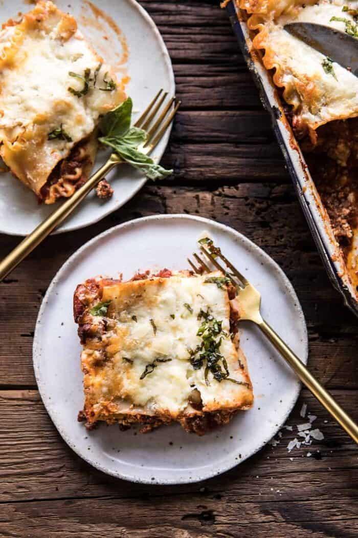 Pesto Bolognese Lasagna pieces out of pan