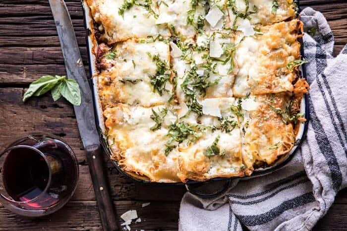 horizontal photo of Pesto Bolognese Lasagna