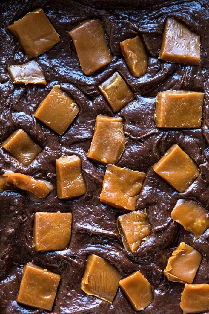 overhead photo of Salted Caramel and Milk Chocolate Brownies before baking