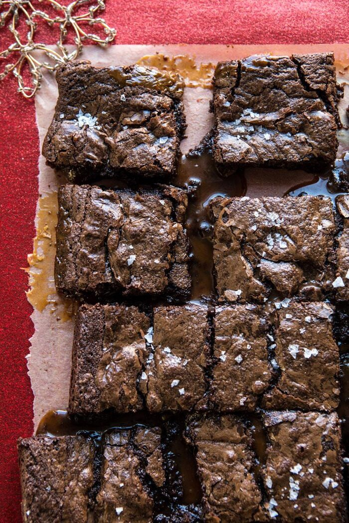 overhead photo of Salted Caramel and Milk Chocolate Brownies