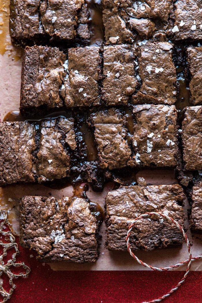 overhead close up photo of Salted Caramel and Milk Chocolate Brownies