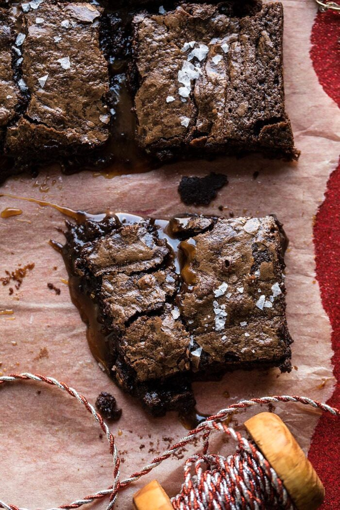 close up photo of Salted Caramel and Milk Chocolate Brownie