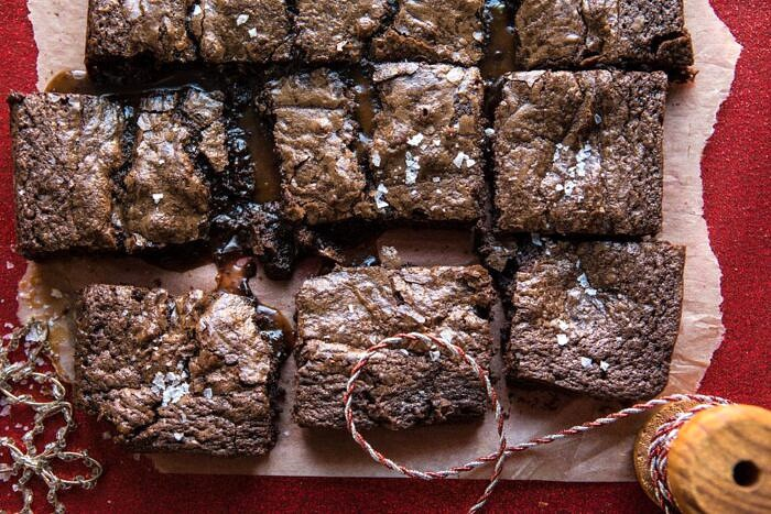 horizontal photo of Salted Caramel and Milk Chocolate Brownies