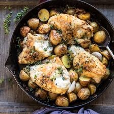 Skillet Roasted French Onion Chicken and Potatoes | halfbakedharvest.com #chicken #skilletrecipes #easyrecipe #frenchonion