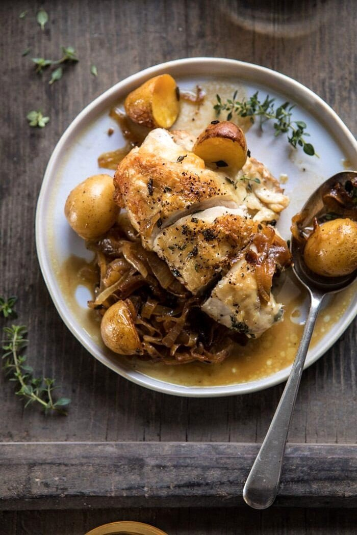 Roasted French Onion Chicken and Potatoes on plate