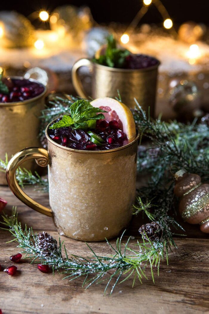 Spicy Pomegranate Moscow Mule | halfbakedharvest.com #cocktails #christmas #holiday #drinks #pomegranate #vodka