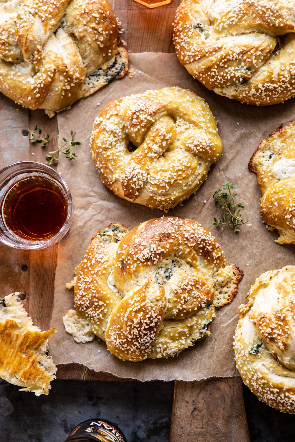 Spinach and Artichoke Stuffed Soft Pretzels