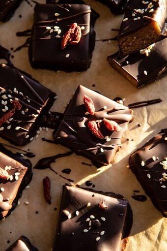 5 Ingredient Chocolate Covered Cashew Bars | halfbkaedharvest.com #chocolate #vegan #easyrecipes #dessert
