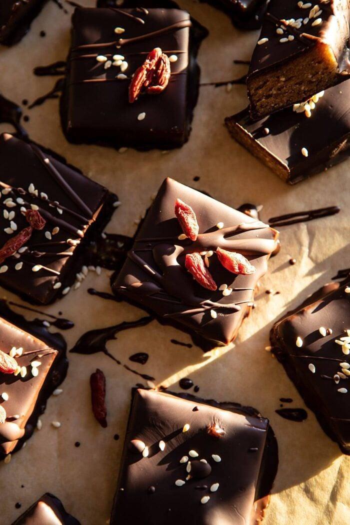 5 Ingredient Chocolate Covered Cashew Bars.