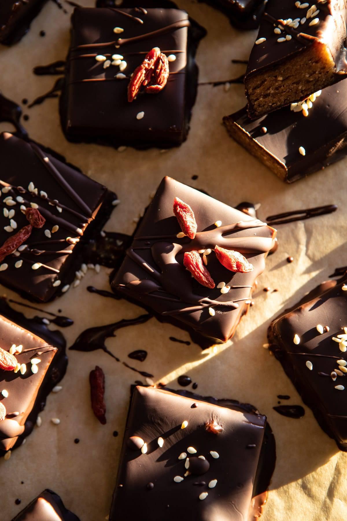 5 Ingredient Chocolate Covered Cashew Bars   halfbkaedharvest.com #chocolate #vegan #easyrecipes #dessert
