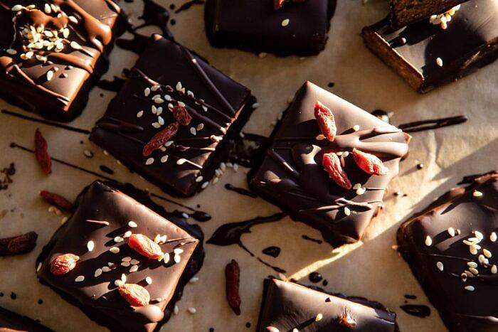 horizontal photo of 5 Ingredient Chocolate Covered Cashew Bars