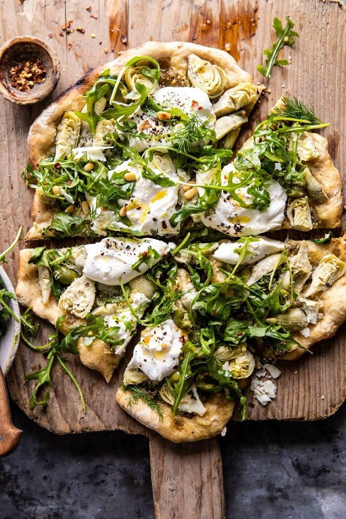 Artichoke Pesto and Burrata Pizza with Lemony Arugula | halfbakedharvest.com #pizza #healthy #burrata #easyrecipes