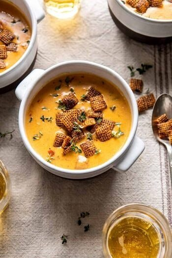 Beer Cheese Soup with Chili Spiced Chex.