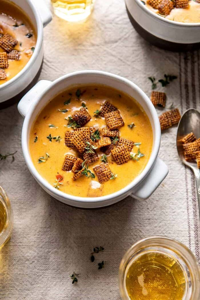 overhead photo of Beer Cheese Soup with Chili Spiced Chex