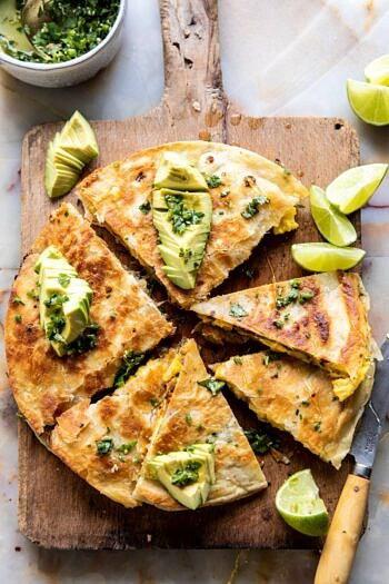 Breakfast Quesadilla with Soft Scrambled Eggs and Avocado Salsa | halfbakedharvest.com #breakfast #mexican #easyrecipes #brunch #eggs #avocado