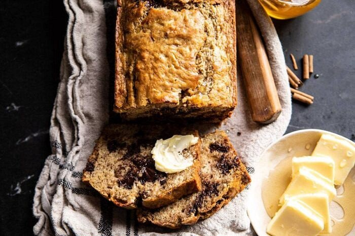horizontal photo of Chocolate Chunk Coconut Banana Bread