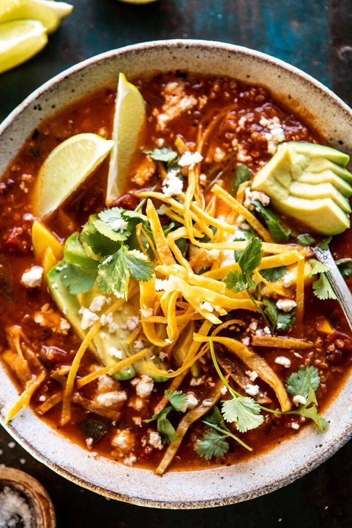 overhead close up photo of Crockpot Spicy Vegetarian Tortilla Soup with Quinoa