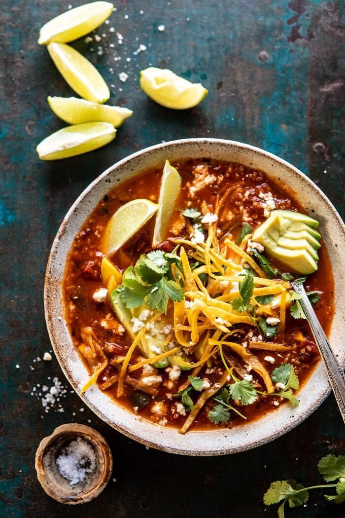 overhead photo of Crockpot Spicy Vegetarian Tortilla Soup with Quinoa