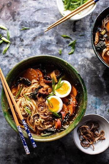 Feel Good Spicy Ramen with Sweet Potatoes and Crispy Shallots.